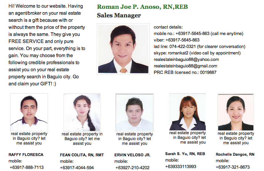 real estate agents of house and lot in Baguio city