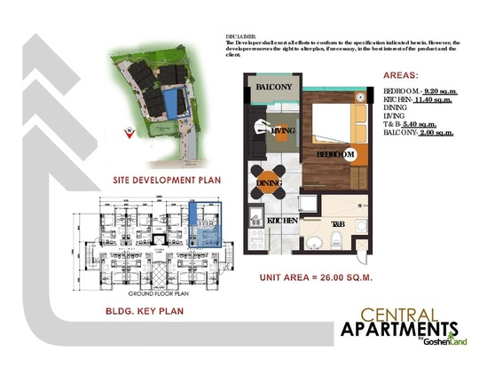 1 bedroom layout of condominium units at the central apartment in Trancoville Baguio city
