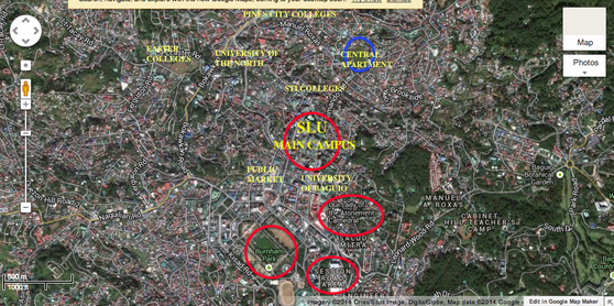 location map of the central apartment in Baguio city through Google map