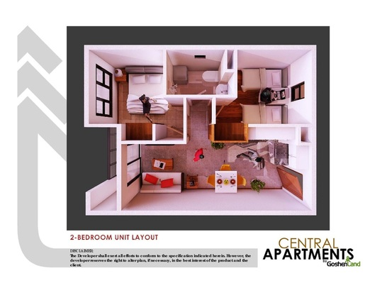 condominium unit layout of the central apartment in trancoville Baguio city 2-bedroom